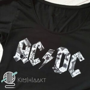 Infusible ink op een zwart t-shirt